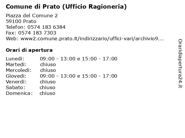 Comune di Prato (Ufficio Ragioneria) a Prato: indirizzo e orari di apertura