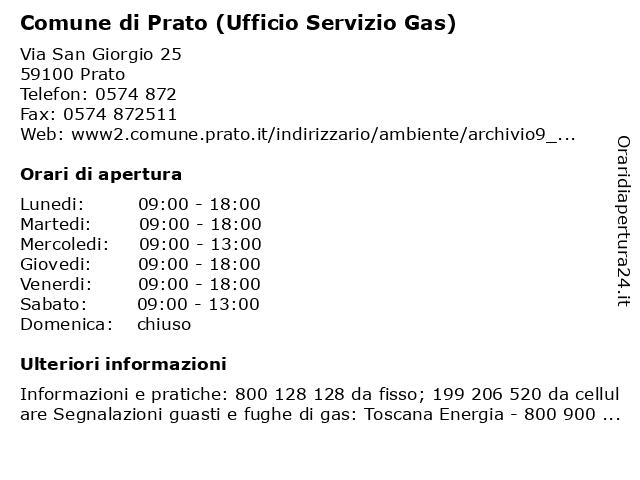 Comune di Prato (Ufficio Servizio Gas) a Prato: indirizzo e orari di apertura