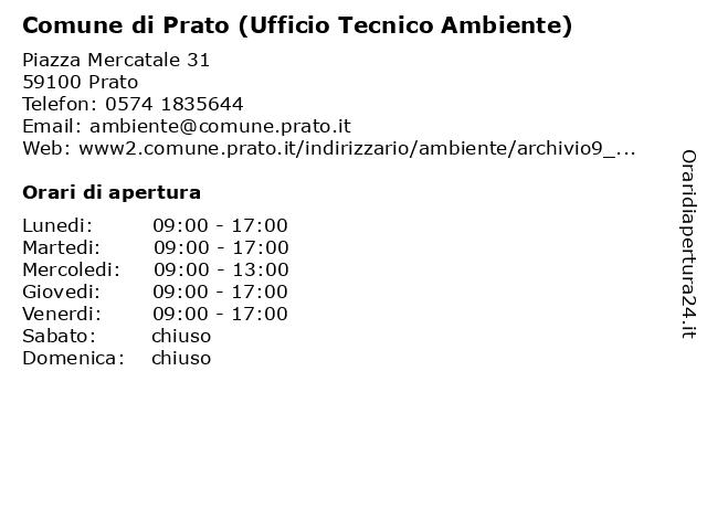 Comune di Prato (Ufficio Tecnico Ambiente) a Prato: indirizzo e orari di apertura