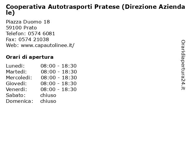 Cooperativa Autotrasporti Pratese (Direzione Aziendale) a Prato: indirizzo e orari di apertura