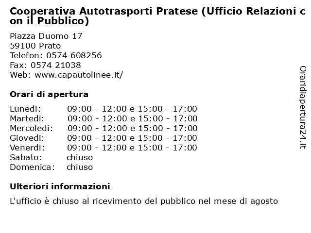 Cooperativa Autotrasporti Pratese (Ufficio Relazioni con il Pubblico) a Prato: indirizzo e orari di apertura