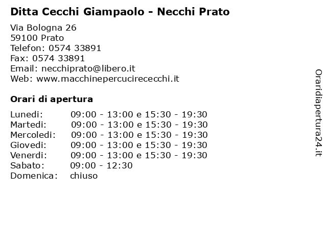 Ditta Cecchi Giampaolo - Necchi Prato a Prato: indirizzo e orari di apertura