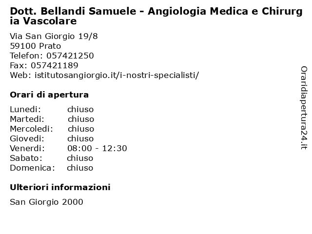 Dott. Bellandi Samuele - Angiologia Medica e Chirurgia Vascolare a Prato: indirizzo e orari di apertura