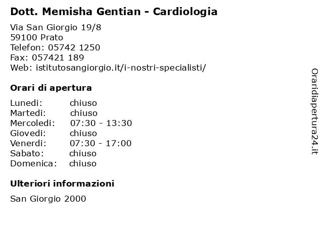 Dott. Memisha Gentian - Cardiologia a Prato: indirizzo e orari di apertura