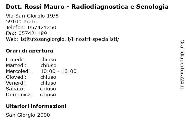 Dott. Rossi Mauro - Radiodiagnostica e Senologia a Prato: indirizzo e orari di apertura