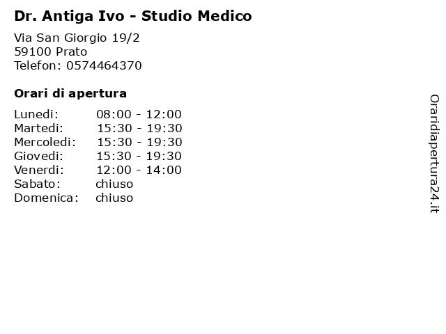 Dr. Antiga Ivo - Studio Medico a Prato: indirizzo e orari di apertura