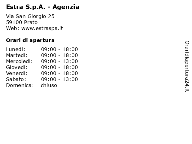 Estra S.p.A. - Agenzia a Prato: indirizzo e orari di apertura