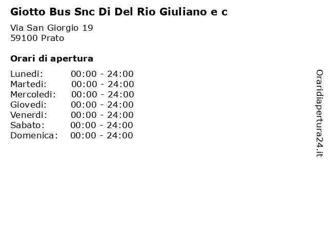 Giotto Bus Snc Di Del Rio Giuliano e c a Prato: indirizzo e orari di apertura