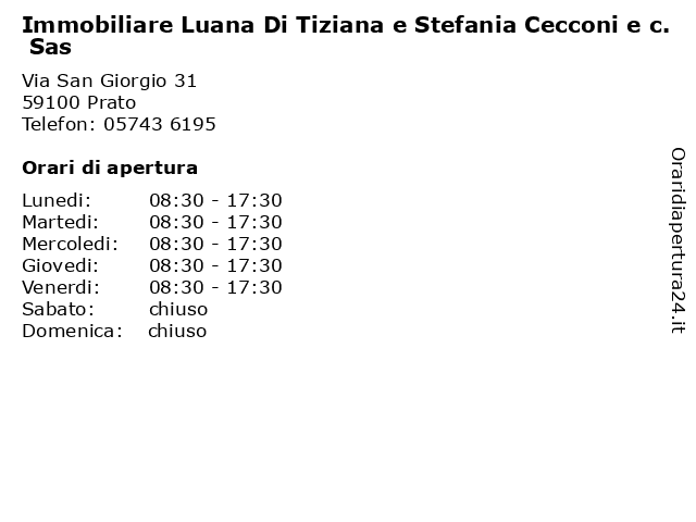Immobiliare Luana Di Tiziana e Stefania Cecconi e c. Sas a Prato: indirizzo e orari di apertura