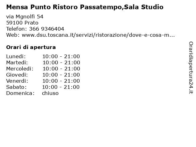 Mensa Punto Ristoro Passatempo,Sala Studio a Prato: indirizzo e orari di apertura