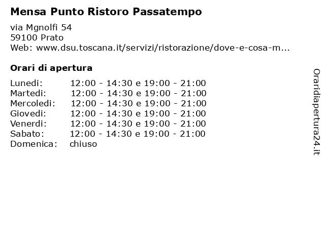 Mensa Punto Ristoro Passatempo a Prato: indirizzo e orari di apertura