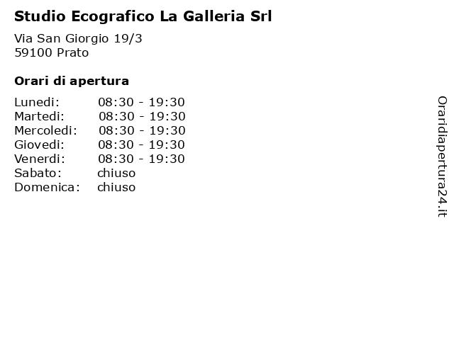 Studio Ecografico La Galleria Srl a Prato: indirizzo e orari di apertura