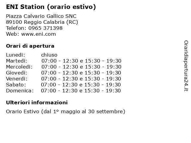 ENI Station (orario estivo) a Reggio Calabria (RC): indirizzo e orari di apertura