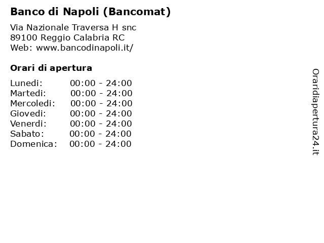 Banco di Napoli (Bancomat) a Reggio Calabria RC: indirizzo e orari di apertura