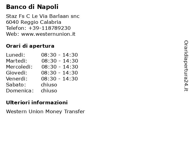 Banco di Napoli a Reggio Calabria: indirizzo e orari di apertura