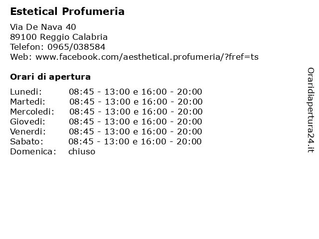 Estetical Profumeria a Reggio Calabria: indirizzo e orari di apertura