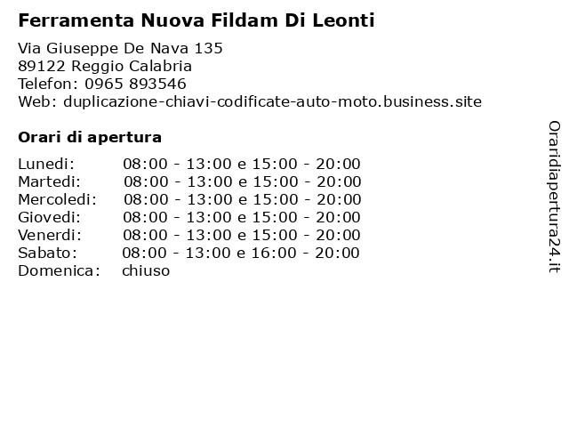 Ferramenta Nuova Fildam Di Leonti a Reggio Calabria: indirizzo e orari di apertura