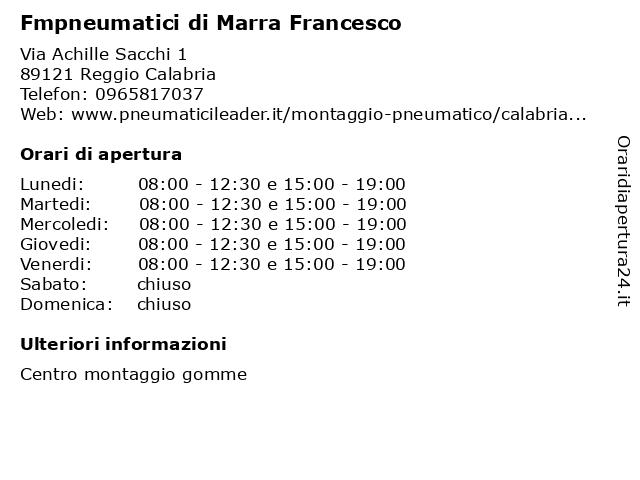 Fmpneumatici di Marra Francesco a Reggio Calabria: indirizzo e orari di apertura