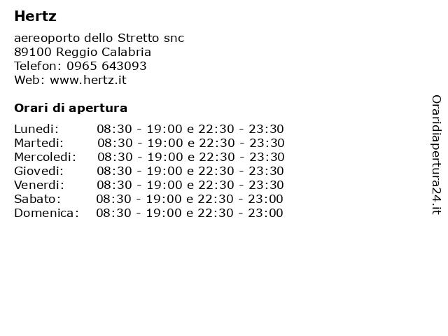 Hertz a Reggio Calabria: indirizzo e orari di apertura