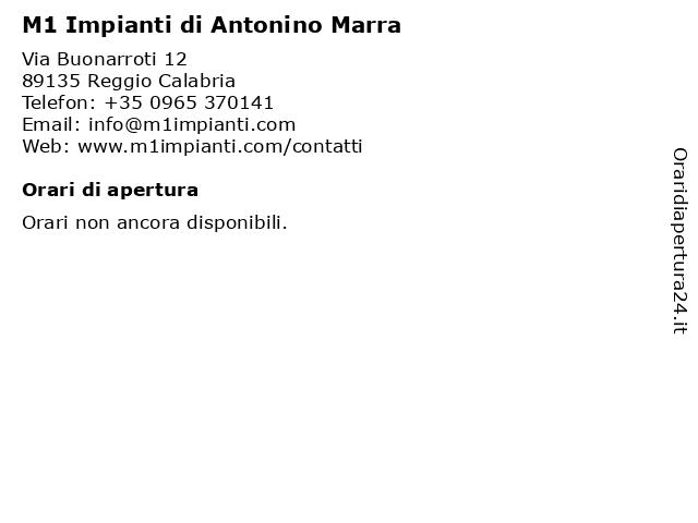 M1 Impianti di Antonino Marra a Reggio Calabria: indirizzo e orari di apertura