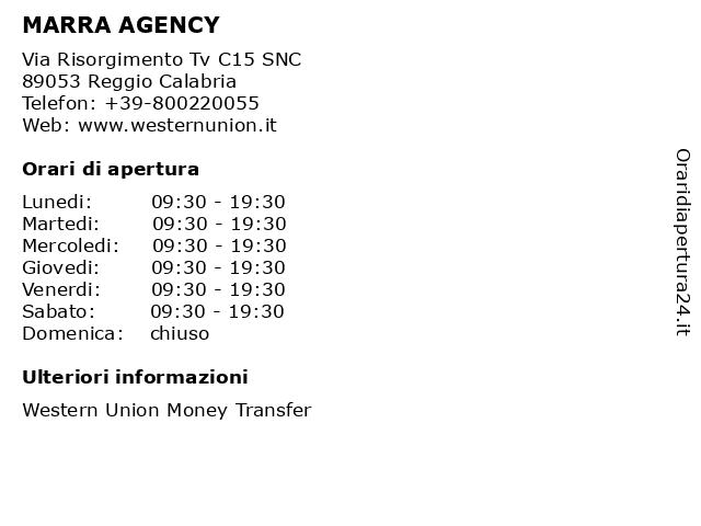 MARRA AGENCY a Reggio Calabria: indirizzo e orari di apertura