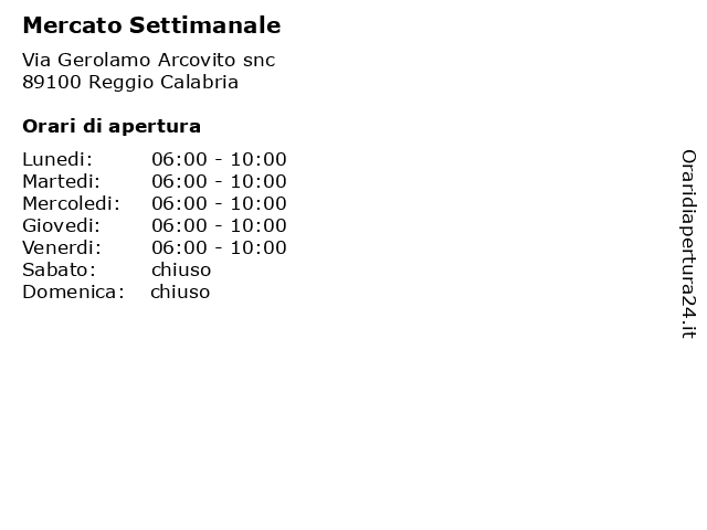 Mercato Settimanale a Reggio Calabria: indirizzo e orari di apertura