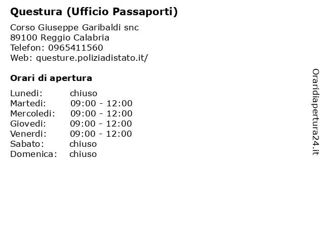 Questura (Ufficio Passaporti) a Reggio Calabria: indirizzo e orari di apertura