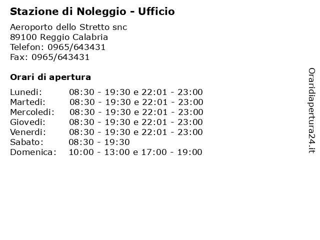 Stazione di Noleggio - Ufficio a Reggio Calabria: indirizzo e orari di apertura