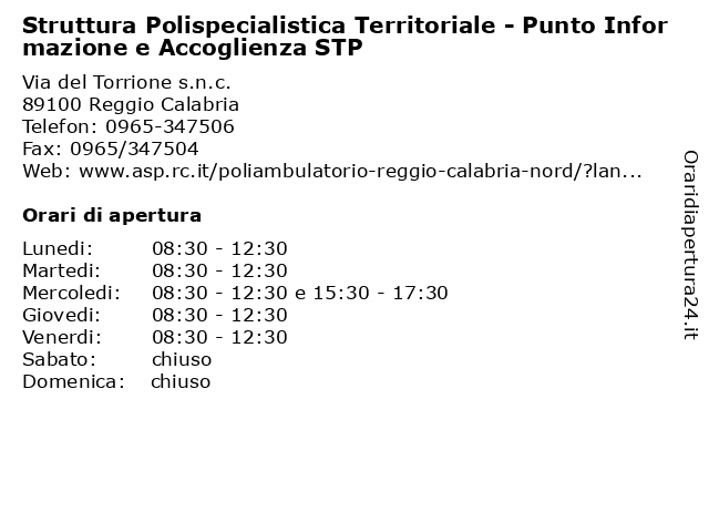 Struttura Polispecialistica Territoriale - Punto Informazione e Accoglienza STP a Reggio Calabria: indirizzo e orari di apertura
