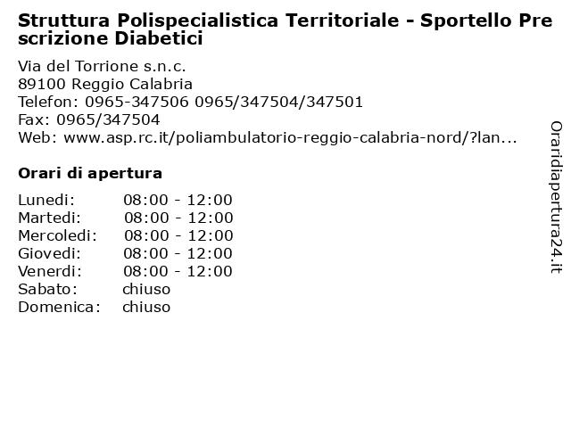 Struttura Polispecialistica Territoriale - Sportello Prescrizione Diabetici a Reggio Calabria: indirizzo e orari di apertura