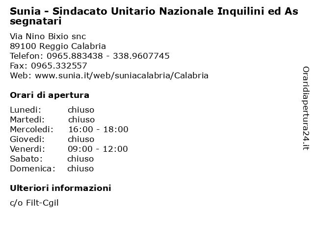 Sunia - Sindacato Unitario Nazionale Inquilini ed Assegnatari a Reggio Calabria: indirizzo e orari di apertura