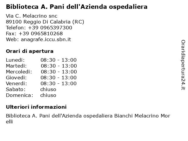 Biblioteca A. Pani dell'Azienda ospedaliera a Reggio Di Calabria (RC): indirizzo e orari di apertura