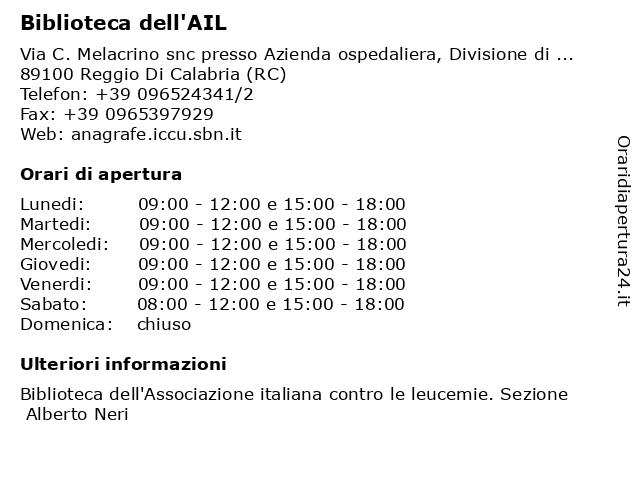 Biblioteca dell'AIL a Reggio Di Calabria (RC): indirizzo e orari di apertura
