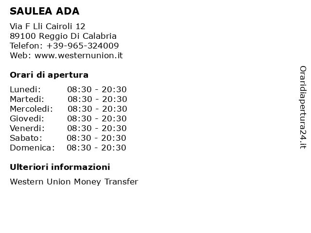 SAULEA ADA a Reggio Di Calabria: indirizzo e orari di apertura