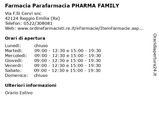 Farmacia Parafarmacia PHARMA FAMILY a Reggio Emilia (Re): indirizzo e orari di apertura