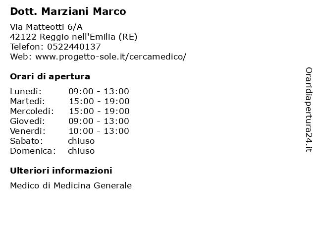 Dott. Marziani Marco a Reggio nell'Emilia (RE): indirizzo e orari di apertura