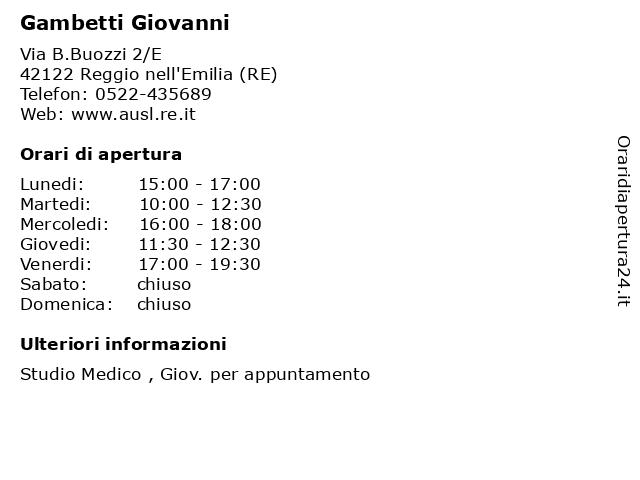 Gambetti Giovanni a Reggio nell'Emilia (RE): indirizzo e orari di apertura