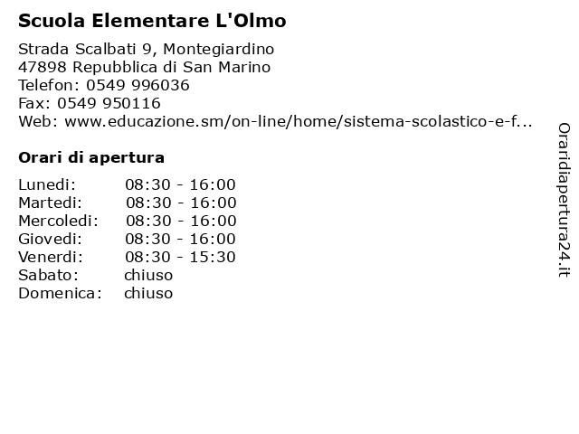 Scuola Elementare L'Olmo a Repubblica di San Marino: indirizzo e orari di apertura