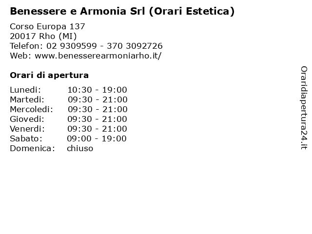 Á… Orari Benessere E Armonia Srl Orari Estetica Corso Europa 137 20017 Rho Mi