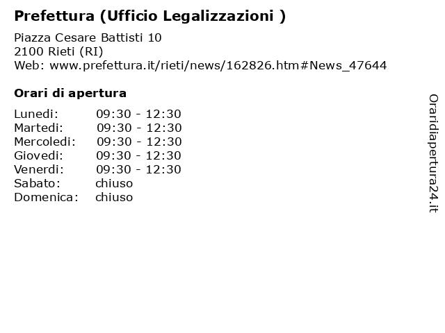 ᐅ Orari Di Apertura Prefettura Ufficio Legalizzazioni Piazza Cesare Battisti