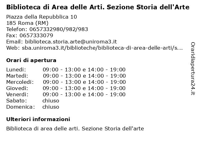 """Biblioteca di Area delle Arti. Sezione Storia dell'Arte """"Luigi Grassi"""" a Roma (RM): indirizzo e orari di apertura"""