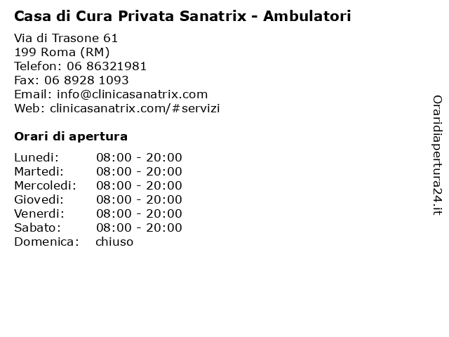 Casa di Cura Privata Sanatrix - Ambulatori a Roma (RM): indirizzo e orari di apertura
