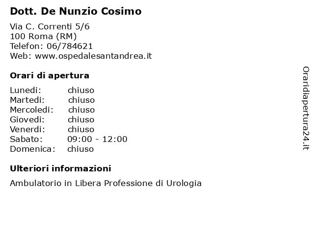Dott. De Nunzio Cosimo a Roma (RM): indirizzo e orari di apertura