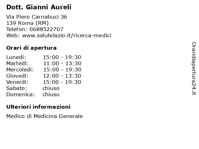 Dott. Gianni Aureli a Roma (RM): indirizzo e orari di apertura