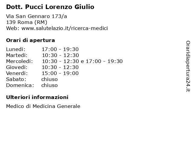 Dott. Pucci Lorenzo Giulio a Roma (RM): indirizzo e orari di apertura