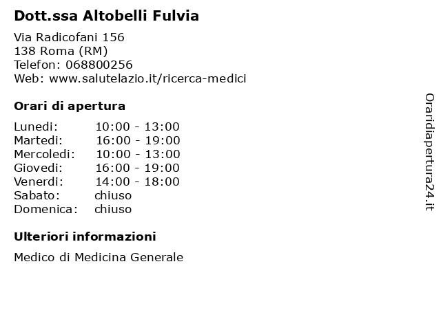 Dott.ssa Altobelli Fulvia a Roma (RM): indirizzo e orari di apertura