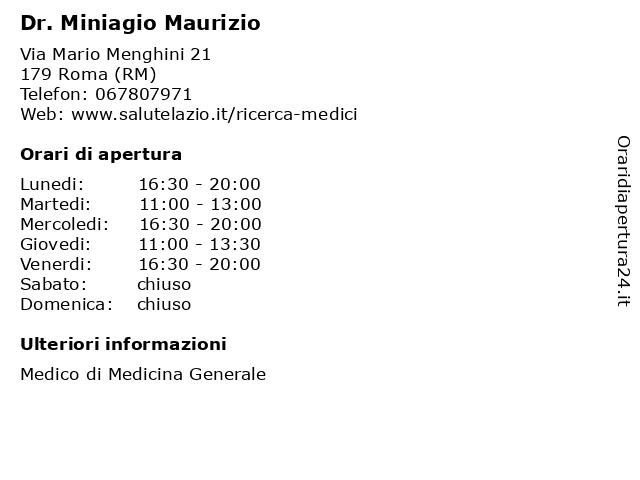 Dr. Miniagio Maurizio a Roma (RM): indirizzo e orari di apertura