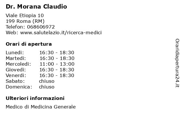 Dr. Morana Claudio a Roma (RM): indirizzo e orari di apertura