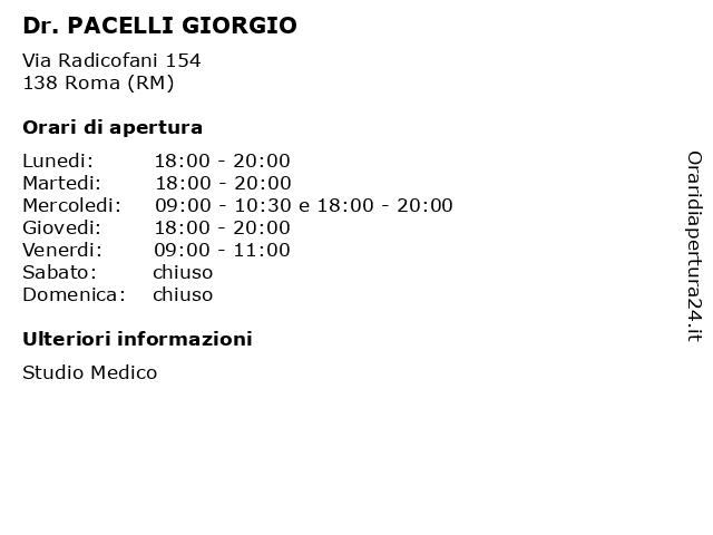 Dr. PACELLI GIORGIO a Roma (RM): indirizzo e orari di apertura