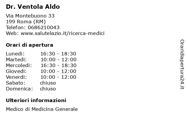 Dr. Ventola Aldo a Roma (RM): indirizzo e orari di apertura